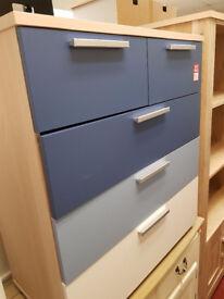 billy blue 3+2 drawerc hest blue