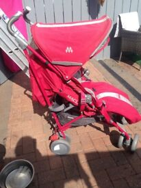 Punk maclaren pushchair with footmuffand apron good condition had as second pushchair at mamas house