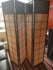 Wood frame and folding room divider partition wall privacy screen Stockport