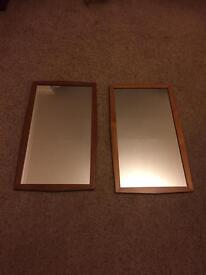 Pair of wood framed mirrors