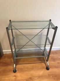 3 glass shelves unit