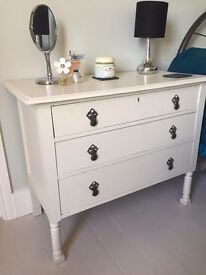 For Sale: Antique chest of drawers (painted in Farrow & Ball slipper satin eggshell)