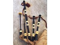 African Blackwood Hardie Bagpipes with real Ivory mounts