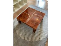 COFFEE TABLE WALNUT VENEER WITH WHITE GOLD PLATED TRIM - AVAILABLE FOR PICK UP E8