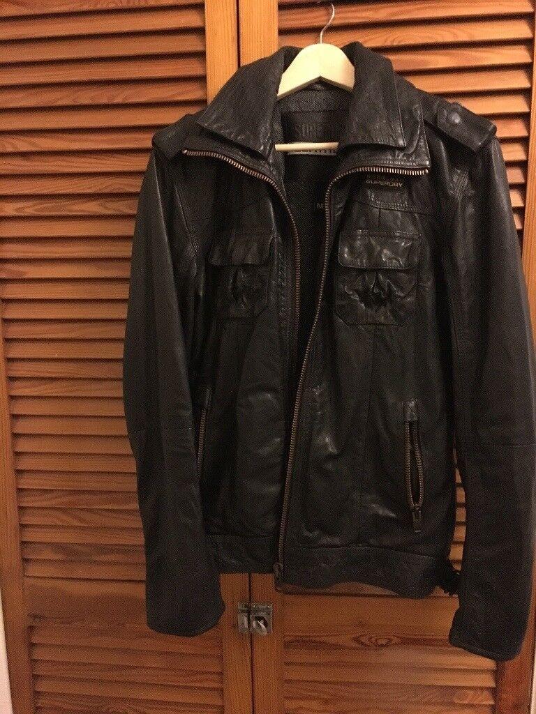 Men's superdry genuine leather coat (M)
