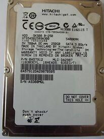 "HITACHI 250GB SATA 2.5"" LAPTOP HARD DRIVE. ( HTS545025B9A300 )"