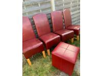 FREE! Red dining room chairs and stool