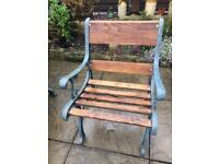 Cast iron & wood garden chair