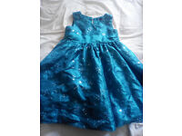 Stunning Emerald/ Turquoise sequined party dress age 3 - 4 years