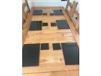 Set of 6 Black Granite Placemats & Coasters