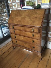 Bureau with pullout writing arrest and 4 drawers