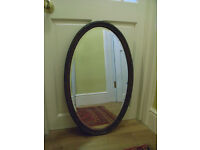 SOLD* Vintage wooden frame oval wall-hung mirror