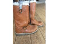 John Lewis Children's Leia Shearling Boots, Tan Leather.