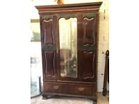 Antique mahogany free standing mirrored wardrobe