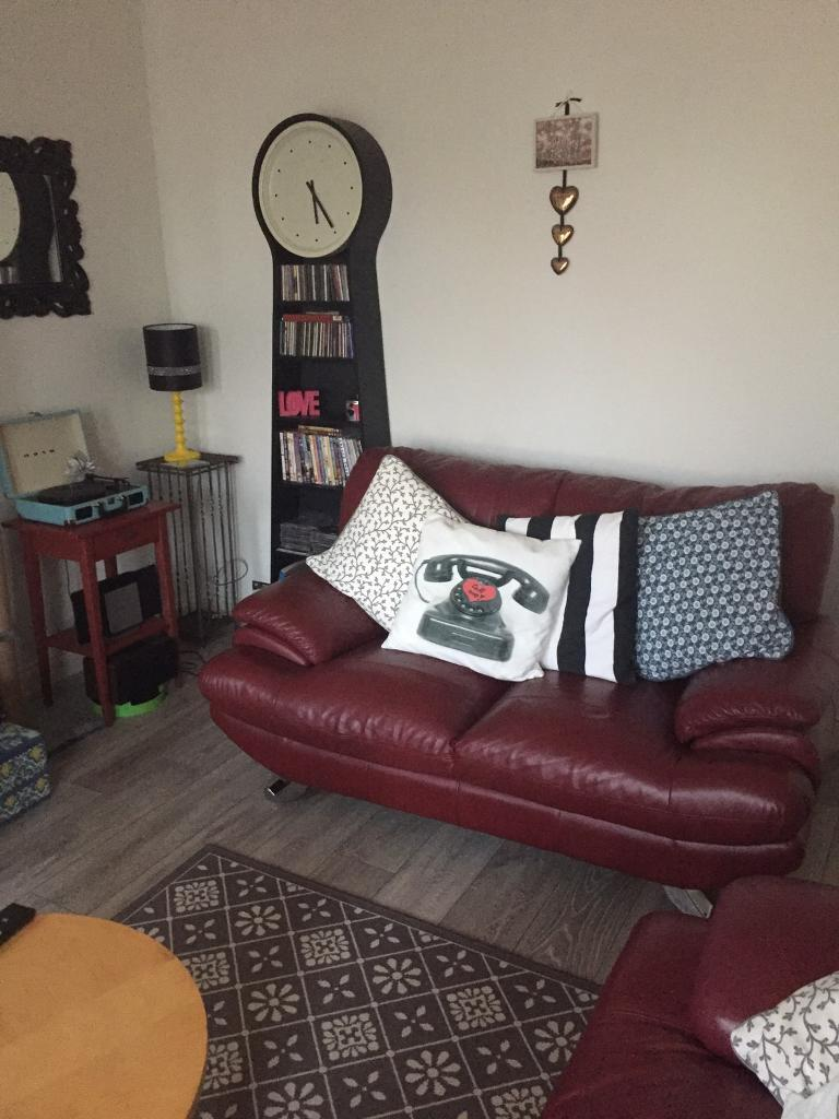 RED LEATHER 2 X 2 SEATER SOFAS + FOOTSTOOL