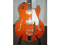Shine NO675 semi acoustic guitar with bigsby with hard case