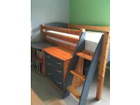 Single raised Cabin Bed in Grey/Pine with desk and drawers