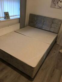 Crushed velvet double divan bed base