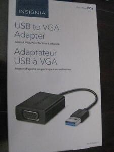 Insignia USB 3.0 to VGA Cable Adapter. Connect Ultrabook / Computer to TV. Connect Additional Display Monitor. NEW