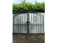 Wrought iron driveway gate, security site gate, 2.6 x 2.1