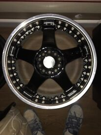 17 Inch Lenso RS5 Rims Black and Chrome