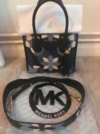 Brand New Without Tags Michael Kors Leather & Suede Tassel Embroidered Mercer CrossBody Handbag