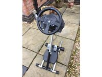 PlayStation Thrust Master T200 wheel pedals and stand