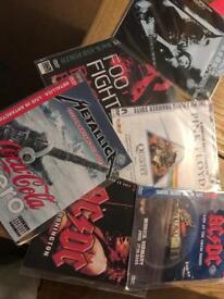 6 ROCK VCRS/ DVDS OASIS, AC/DC, METALLICA,FOO FIGHTERS, PINK FLOYD