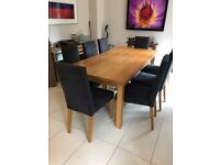 Used, SOLID LIGHT OAK DINING ROOM TABLE & 8 CHAIRS & 2 EXTENSION LEAVES- VGC for sale  Wimbledon, London