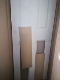 White door with 2 glass panels at the top brand new in box