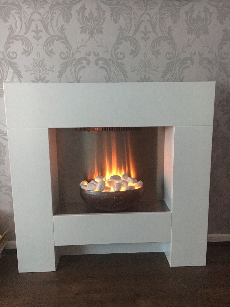 Adam Cubist Fireplace Suite In White With Electric Fire