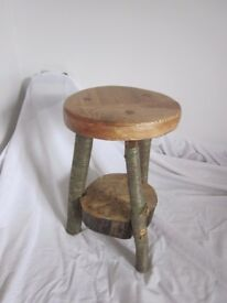 Milking stool with ash wood seat and cherry legs