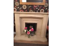 Stone Fire place surround and hearth with gas fire