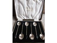 Vintage 1924 Cased Set of Six Solid Silver Coffee Spoons with Black Coffee Bean Finials