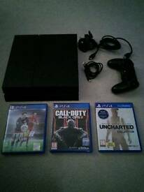 PS4 Console, 500GB, 3 games, one controller.