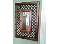 Moroccan style wood & metal mirror 57 x 39 cm