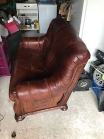 2x2seater drown leather with draw
