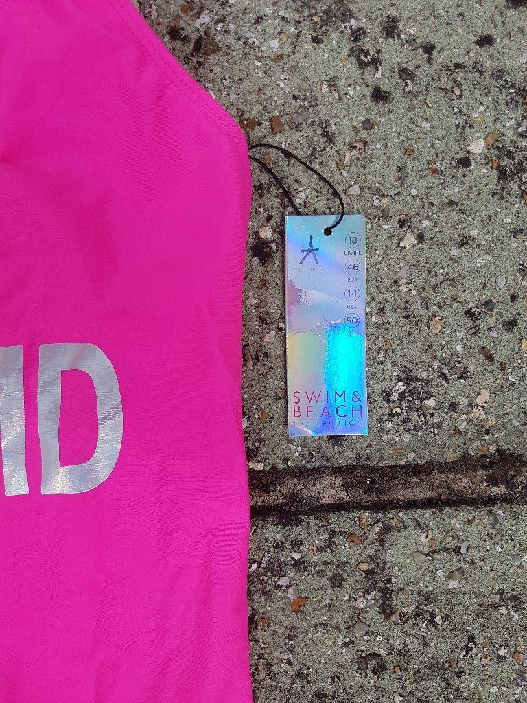 Bright Pink New With Tags Ladies Swimming Costume Go Bathe On The