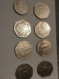 Rare 50p coins and a 10p coin (a lot of 8)
