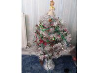 White Christmas Tree With Lights & Accessories