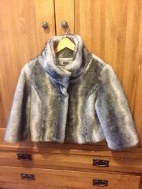 QED LONDON fake fur cropped jacket. Size small.