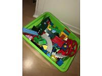 Large box of children's toy blocks