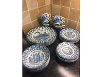 (1977 Queens Silver Jubilee) - BROADHURST IRONSTONE Vintage Blue & White China