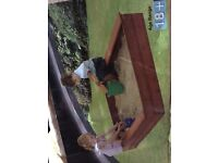Plum wooden sand pit. New
