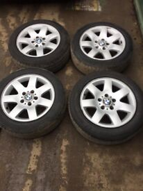 Set of 4 BMW 3 SERIES Alloy wheels with 2 almost new tyres