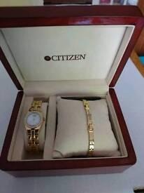 Ladies citizen watch and bracelet set