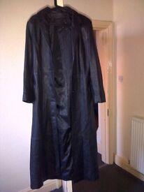 Ladies Black Leather 3/4 length Coat Size 10