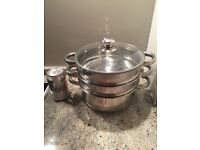 3 Layers Steam Pot with Glass Lid - Stainless Steel