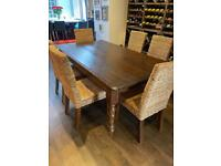 FIRST TO COLLECT TODAY- Large Solid Wood Sideboard AND Dining Table and 6 Rattan Chairs
