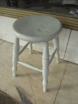 Victorian Antique Painted Elm Stool / Victorian Painted Kitchen Seat